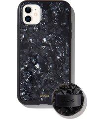 sonix black tort iphone 11 case & slide silicone phone ring - black