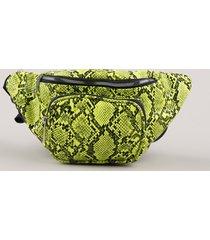 pochete feminina com estampa e textura animal print de cobra verde neon