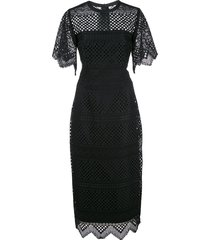 carolina herrera crochet midi sheath dress - black