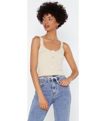 womens mother of pearl rib knitted cami top - ecru