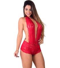 body de renda vip lingerie com caleçon e decote vermelho