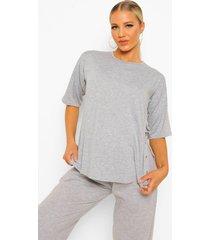 zwangerschap borstvoeding t-shirt met zij drukknoopjes, grey marl