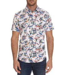 robert graham men's duxton printed sport shirt - white multi - size m