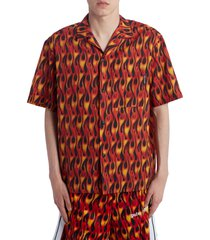 men's palm angels burning bowling shirt