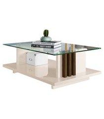 mesa de centro retangular com tampo de vidro frizz off white e savana