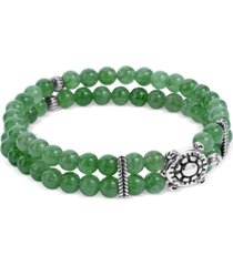 american west green aventurine bead turtle stretch bracelet in sterling silver