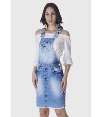 macacão hno jeans jardineira evangélica feminino - feminino