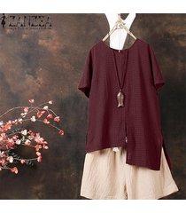 zanzea ocasional de las mujeres camiseta de algodón camiseta t-check plus tamaño túnica de la blusa -rojo