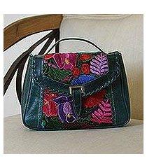 cotton accent leather handbag, 'lush tropics' (mexico)