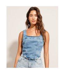 regata cropped corset jeans alça larga decote redondo azul médio