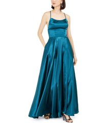 betsy & adam empire-waist satin gown