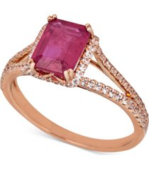 certified ruby (1-1/2 ct. t.w.) & white sapphire (1/5 ct. t.w.) ring in 14k rose gold (also in sapphire & emerald)