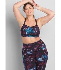 lane bryant women's livi low-impact livi soft no-wire sport bra 14/16 galactic texture blue