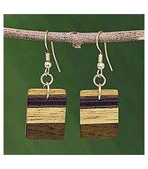 wood dangle earrings, 'forest hues' (brazil)