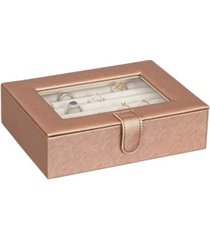 mele co. cole glass top fashion jewelry box and ring case in textured dusty rose vegan leather