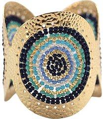 brazalete imperial tejido a mano baño oro azul bijulovers