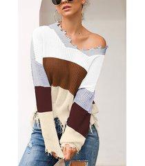 suéter de punto rasgado al azar con rayas en bloques de color gris