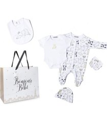 bonjour bebe baby boys and girls animals footie 5 piece layette gift set