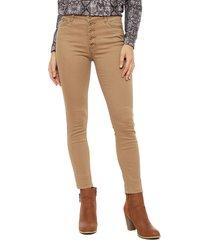 jeans tentation pitillo botones beige - calce ajustado