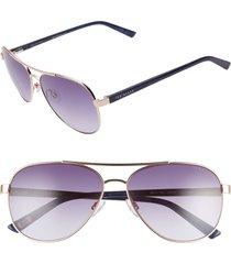 women's ted baker london 58mm gradient aviator sunglasses - gold/ purple