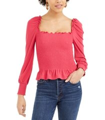 bar iii smocked square-neck top, created for macy's