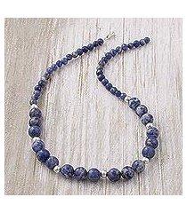 sodalite beaded necklace, 'falling water' (peru)