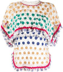 isabel marant cape-overlay floral crochet top - white