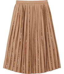 burberry crystal detail plissé soleil wool silk blend skirt - neutrals