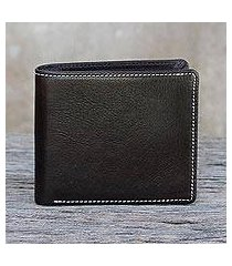 men's leather wallet, 'classic in dark brown' (thailand)
