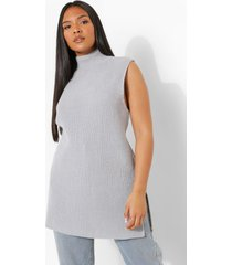 plus gebreid long line hemd, grey