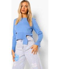 fijn gebreide trui met versleten zoom, bright blue