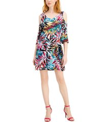 connected petite cold-shoulder palm-print dress