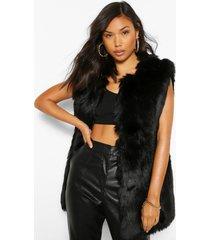 luxe longline panelled faux fur gilet, black