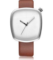 orologio al quarzo trendy cinturino in pelle geometrico quadrante in vetro semplice quadrante grande per donna uomo