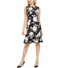 kasper floral-print sleeveless crepe ruffle-hem dress
