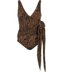 lisa marie fernandez dree louise wrap swimsuit - brown