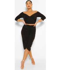 plus twist front top and ruched midi skirt, black