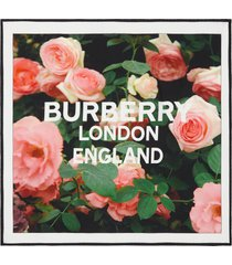 women's burberry roses silk twill scarf, size one size - pink