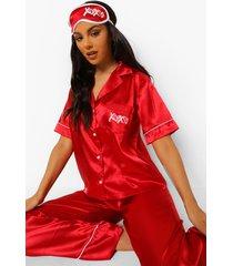 geborduurde satijnen xoxo pyjama en slaapmasker set, red