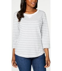 karen scott petite striped 3/4-sleeve sweatshirt, created for macy's