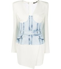 balmain vestido jeans com espartilho - branco