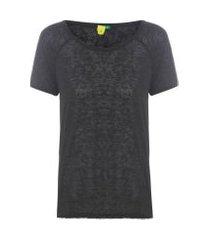 t-shirt feminina raglan - preto