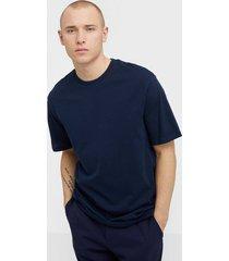 selected homme slhoversizemalcolm ss o-neck tee w t-shirts & linnen mörk blå