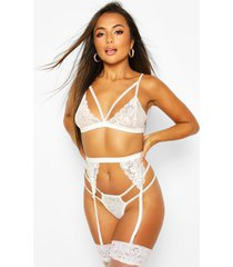strapping lace bralette thong and suspender set, white