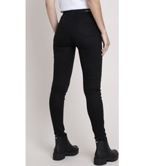 calça de sarja feminina sawary super skinny super lipo push up cintura alta preta