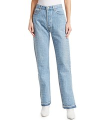 baggy reconstructed rhinestone jeans