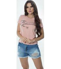 t-shirt daniela cristina gola u 02 602dc10277 rosa - rosa - pp - feminino