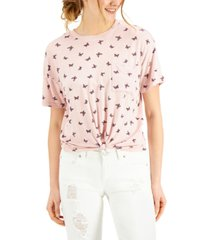 self esteem juniors' butterfly printed knot-front ringer t-shirt