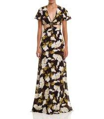 women's slit print long dress