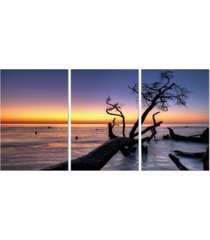 """chic home decor hawaii sunset 3 piece wrapped canvas wall art set -20"""" x 40"""""""